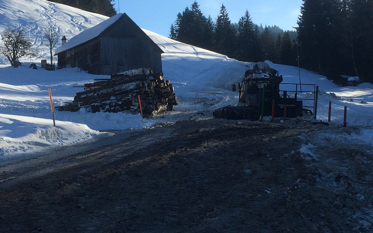 Winter 14/15: Nachbar transportiert Holz mit Pfistenfahrzeug.